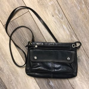Fossil | Black Leather Crossbody Bag